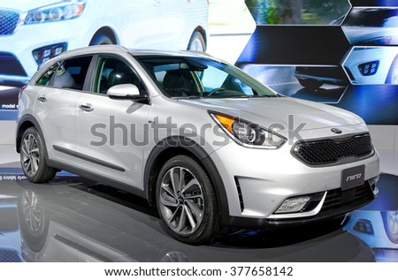 TORONTO-FEBRUARY 12: at the 2016 Canadian International AutoShow KIA NIRO is the first Kia to make use of an all-new dedicated eco-car platform as an next step to it�s global car family by 2020 - stock photo