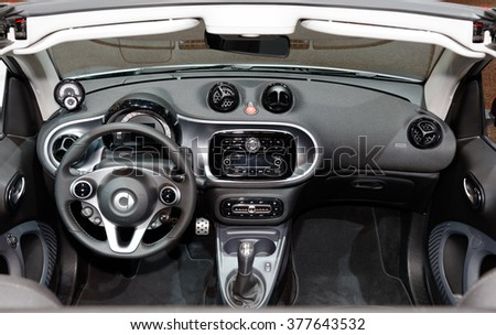TORONTO-FEBRUARY 12: at the 2016 Canadian International AutoShow , Smart ForTwo Cabrio cockpit  - stock photo