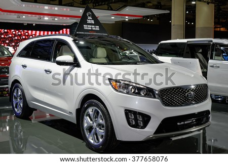 TORONTO-FEBRUARY 12: at the 2016 Canadian International AutoShow the all-new 2016 Kia Sorento earns title as AJAC�s �Best New SUV ($35,000 - $60,000) - stock photo