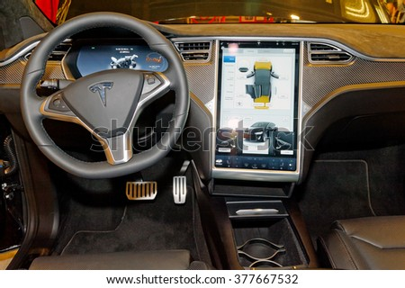 TORONTO-FEBRUARY 12: at the 2016 Canadian International AutoShow, the all new Tesla Model X cockpit - stock photo