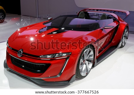 TORONTO-FEBRUARY 12: at the 2016 Canadian International AutoShow Volkswagen brought out their GTI Roadster concept, inspired by a digital vehicle created for Gran Turismo 6 - stock photo