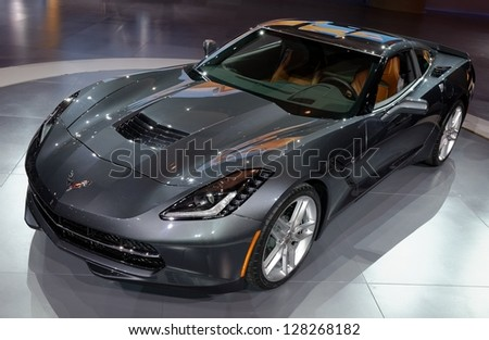TORONTO-FEBRUARY 14: Chevrolet Corvette model 2014 at the 2013 Canadian International Auto Show on February 14, 2013 in Toronto - stock photo