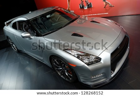 TORONTO-FEBRUARY 14: Nissan GTR at the 2013 Canadian International Auto Show on February 14, 2013 in Toronto - stock photo