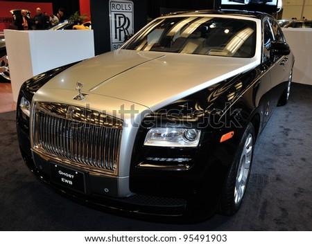 TORONTO-FEBRUARY 16: Rolls Royce Ghost EWB at the 2012 Canadian International Auto Show on February 16, 2012 in Toronto - stock photo