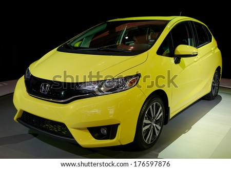 TORONTO-FEBRUARY 14: The all New 2015 Honda Fit is the third generation Fit at the 2014 Canadian International Auto Show on February 14, 2014 in Toronto           - stock photo