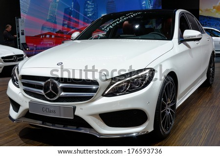 TORONTO-FEBRUARY 14: The all New 2015 Mercedes Benz C-Class at the 2014 Canadian International Auto Show on February 14, 2014 in Toronto           - stock photo