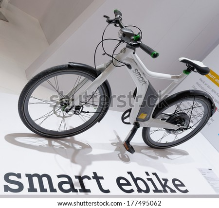 TORONTO-FEBRUARY 14: The all New Smart eBike at the 2014 Canadian International Auto Show on February 14, 2014 in Toronto           - stock photo
