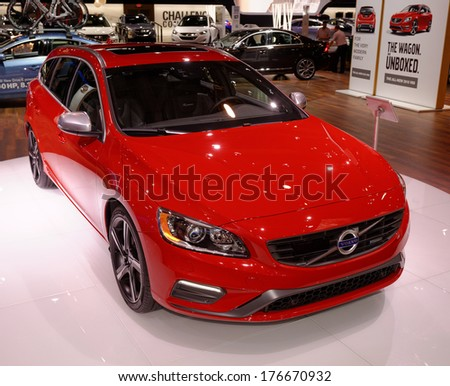 TORONTO-FEBRUARY 14: The all New 2015 Volvo V60 T6 AWD at the 2014 Canadian International Auto Show on February 14, 2014 in Toronto           - stock photo