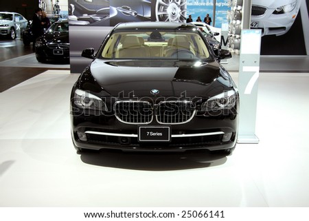 TORONTO, FEBRUARY 11: the BMWs on display at the Canadian International AutoShow 2009.  More than 1000 cars are trucks are on display at this show - stock photo