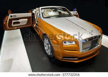 TORONTO-FEBRUARY 12, 2016: The 2016 Canadian International AutoShow, a 624-hp version of the Ghost's V-12, Rolls Royce Wraith is one of the most expensive displayed models. - stock photo