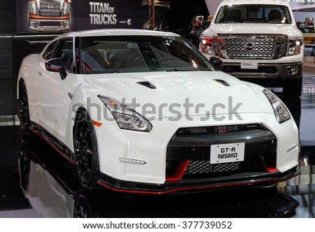 TORONTO-FEBRUARY 12, 2016: The 2016 Canadian International AutoShow, 2016 Nissan GT-R NISMO is the most potent production vehicle Nissan has ever made with 3.8-litre V6 VR38DETT engine rated at 600hp - stock photo