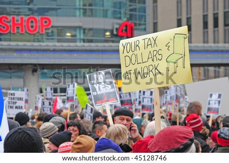 TORONTO - JANUARY 23:  People at a rally protesting against Prime Minister Harper's decision to prorogue Parliament on January 23, 2010 in Toronto, Ontario.