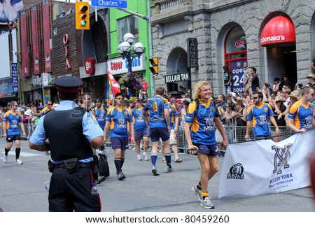 TORONTO – JULY 03:  Football club at Annual Pride Parade in July 03 2011 in Downtown, Toronto.