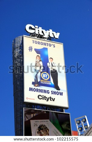 TORONTO - JUNE 2: A Citytv billboard ad on June 2, 2011 in Toronto. Citytv is a Canadian television system of five television stations located in Toronto, Winnipeg, Calgary, Edmonton and Vancouver