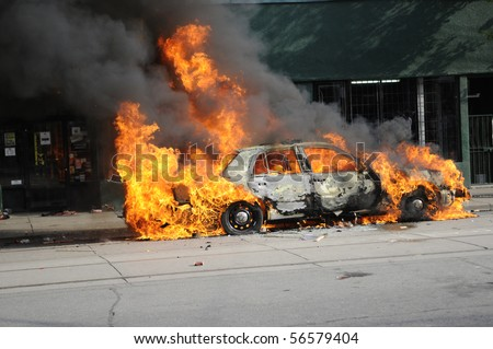TORONTO-JUNE 26: A Police Car was torched during the G20 protest on June 26, 2010 in Toronto, Canada