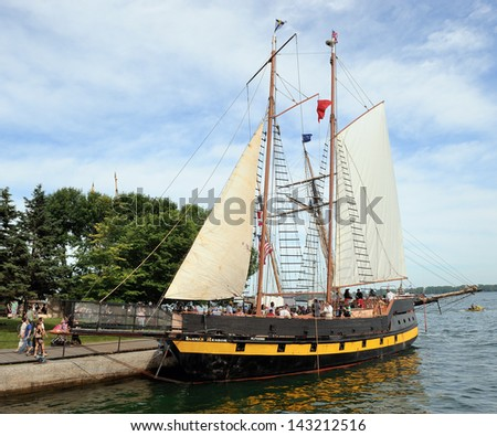 TORONTO- JUNE 21: Redpath Waterfront Festival in Toronto has been held from June 20 to June 23. Canadian tall ship �Liana�s Ransom� on June 21, 2013 in Toronto. - stock photo