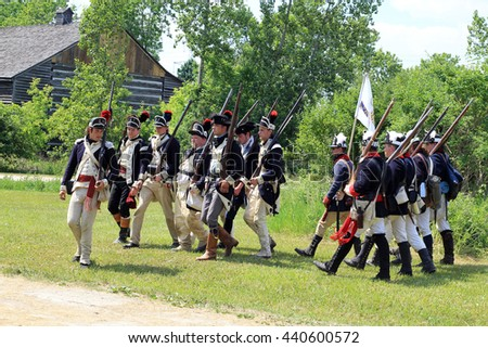 TORONTO ?? JUNE 19, 2016: The battle  of Black Creek revolutionary war re-enactment in Black Creek Pioneer village in June 19, 2016 in Toronto, Canada.