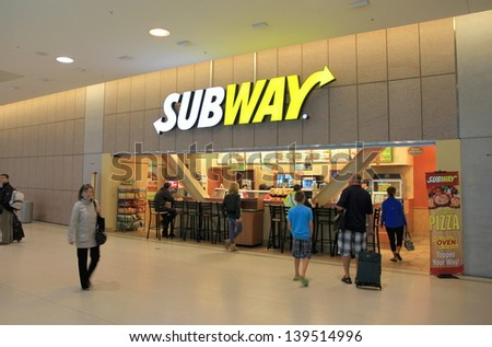 TORONTO - MAY 10: A Subway restaurant on May 10, 2013 in Toronto. Subway is one of the fastest growing franchises in the world with 39,282 restaurants in 102 countries. - stock photo
