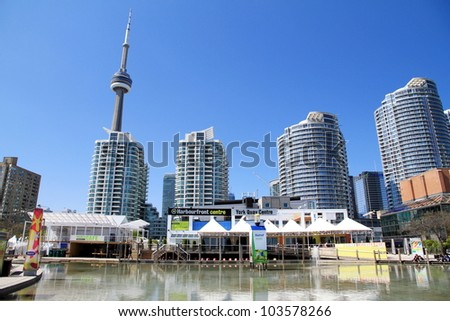 TORONTO - MAY 11: A view of the Harbourfront Centre on May 11, 2012 in Toronto, Canada. The Harbourfront Centre works with 450 organizations and hosts more than 4,000 events a year. - stock photo