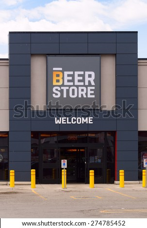 TORONTO-MAY 2: The Beer Store is a privately owned chain of retail outlets selling beer and other malt beverages in the province of Ontario. The entrance of this store was photographed on May 2, 2015. - stock photo