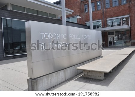 TORONTO - MAY 8, 2014: Toronto police service 51 division located at Parliament St.  is dedicated to keep the city the best and safest place to be.  51 Parliament St., Toronto, ON - stock photo