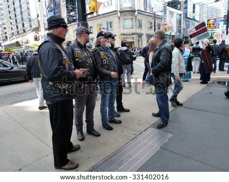 TORONTO -OCTOBER 25, 2015: Bikers at Rally for Israel in October 25, 2015 in Toronto, Ontario, Canada.