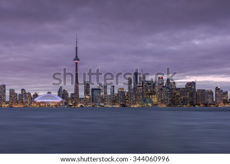 Toronto, ON, Canada, April 20, 2015. The Skyline of Toronto from Center Island.