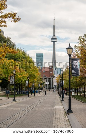 TORONTO, ON, CANADA - OCTOBER 22: View of CN tower from University of Toronto, in Toronto, ON, on October 22, 2013. - stock photo
