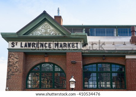 Toronto, Ontario - Apr.24, 2016: West view of St.Lawrence Market building, one of the historic landmarks in Toronto - stock photo