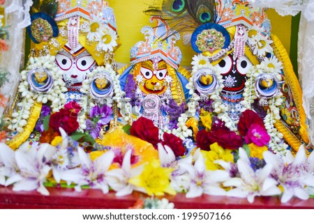 TORONTO, ONTARIO/CANADA - JULY 13: Lord Krishna  on the day of  41st Annual Festival of India on July 13, 2013 in Toronto,Canada.  - stock photo