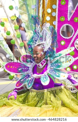 Toronto, Ontario, Canada - July 30, 2016: Participants dressed in costumes, posing during annual Caribana Parade - North America's largest Caribbean Parade.