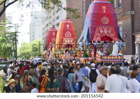 TORONTO, ONTARIO/CANADA - JULY 13: Rath being decorated in the early morning of  41st Annual Festival of India on July 13, 2013 in Toronto,Canada.  - stock photo