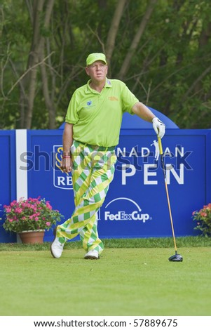 TORONTO, ONTARIO - JULY 21: US golfer John Daly during a pro-am event at the RBC Canadian Open,   St. George's  Golf and Country Club,  July 21, 2010 in Toronto, Ontario. - stock photo