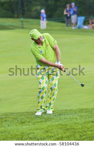 TORONTO, ONTARIO - JULY 21: US golfer John Daly during a pro-am event at the RBC Canadian Open golf, St. George's; Golf and Country Club;  July 21, 2010 in Toronto, Ontario - stock photo