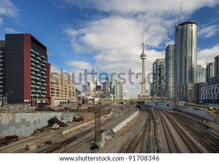 TORONTO, ONTARIO - MARCH 14: The Toronto Star reports governments will fund affordable housing on the railway lands along the waterfront in Toronto, Ontario, Canada on March 14, 2010. - stock photo