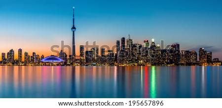 Toronto panorama at dusk - stock photo