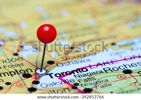 Toronto pinned on a map of Canada  - stock photo