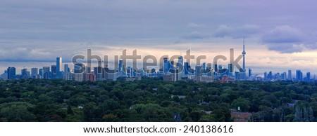 Toronto's Skyline II  Panoramic view from my balcony, Toronto, Ontario, Canada.  - stock photo