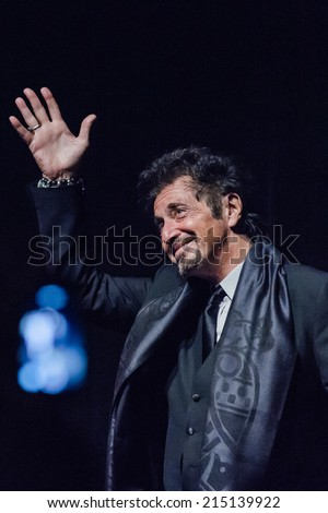"Toronto - September 4, 2014: Actor Al Pacino on stage inside the Elgin and Winter Garden Theatres on Yonge Street in Toronto for the screening of ""The Humbling"", on the first day of TIFF 2014."