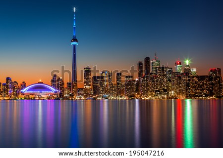 Toronto skyline at dusk - stock photo