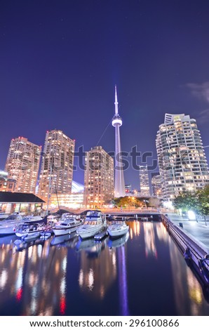 Toronto skyline at night in Ontario, Canada - stock photo