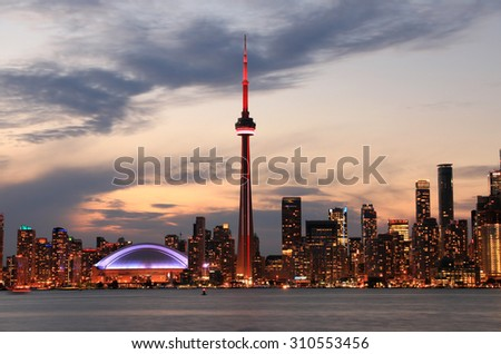 Toronto Skyline at sunset, Ontario, Canada - stock photo