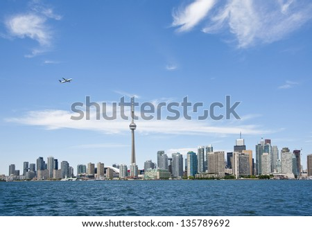 Toronto skyline in the summer time - stock photo