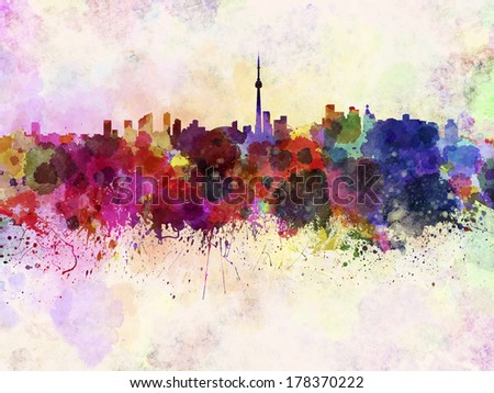 Toronto skyline in watercolor background - stock photo