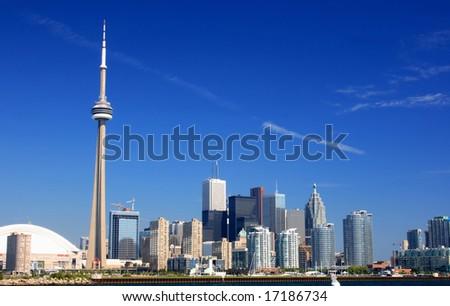 Toronto Skyline. The picture of Toronto Shoreline where the town border the Lake Ontario. - stock photo