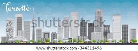 Toronto skyline with grey buildings and blue sky. Business travel and tourism concept with modern buildings. Image for presentation, banner, placard and web site. - stock photo