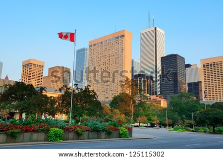 Toronto street view at dusk with urban buildings