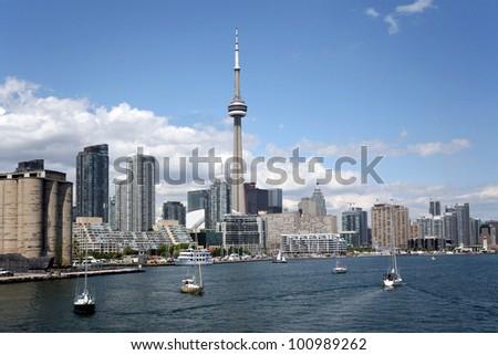 Toronto waterfront skyline - stock photo