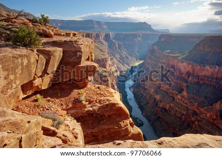 Toroweap point at sunrise, Grand Canyon National Park. - stock photo