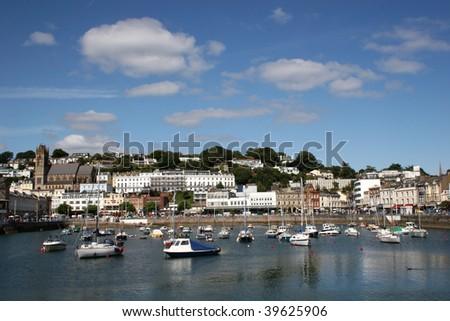 Torquay harbor - stock photo